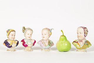 Four Porcelain Bourbon Figural Busts of Children