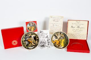 2 Ottaviani Figural Scene Ceramic Plates, Boxes