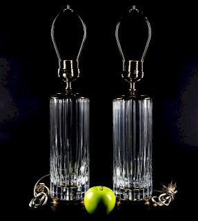 Pair, Baccarat Cylinder Form Crystal Table Lamps