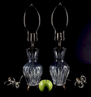 Pair, Baccarat Urn Form Crystal Table Lamps