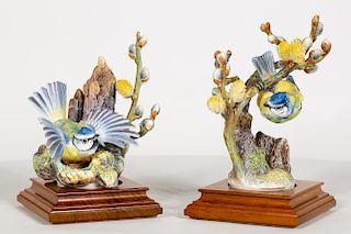 2 Doughty Blue Tit & Pussy Willow Porcelain Birds