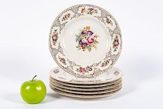 6 Hutschenreuther Floral Motif Porcelain Plates
