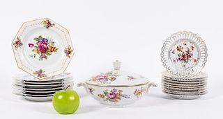 19 pcs Gilt and Floral Porcelain Dinnerware
