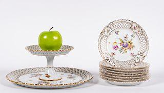 German Reticulated Porcelain Dessert Set, 9 PCS