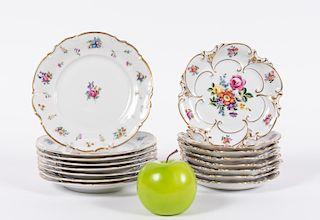 20th Century German Porcelain Floral Plates 16 PCS
