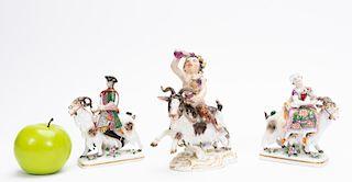 Three German Porcelain Figurines on Goats