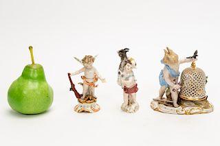 Three German Porcelain Cherub Figurines