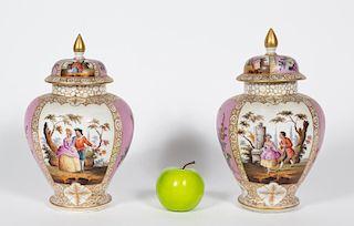 Pair, Helena Wolfsohn Dresden Lidded Urns