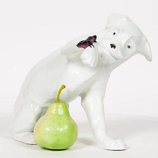 R. Bloch White Porcelain Dog Figurine w/Cricket