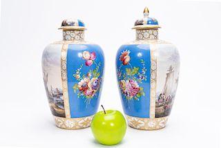 Pair, 19th C. German Carl Thieme Porcelain Urns