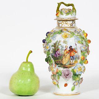 Carl Thieme Lidded Floral Porcelain Urn