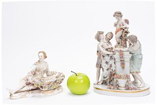 Group,  Two Continental Porcelain Figurines