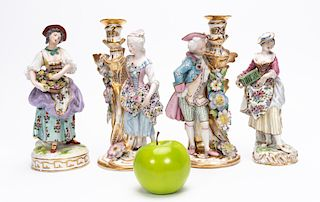 Group, Four Continental Porcelain Figures