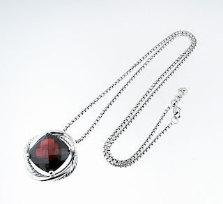 David Yurman Sterling Silver Infinity Garnet Necklace