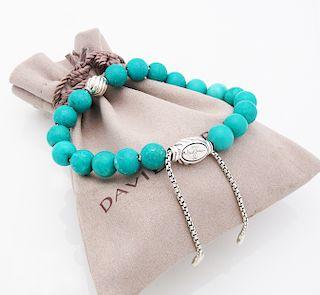 David Yurman Silver Turquoise Spiritual Beads
