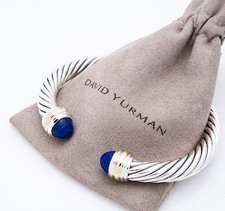David Yurman 7mm Sterling 14k Lapis Lazuli Bracelet