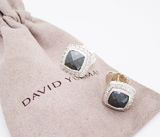 David Yurman Sterling Diamond Hematite Albion Earrings