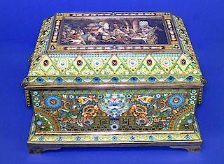 RARE HUGE RUSSIAN ENAMEL SILVER BOX