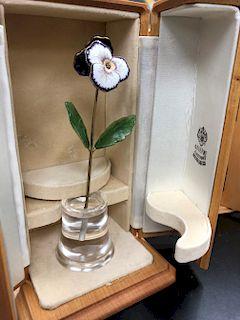 Faberge Russian Silver Enamel Crystal Diamond Flowers