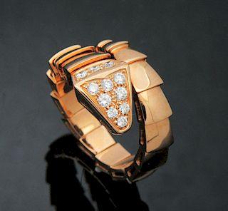 Bulgari 18k Rose Gold & Pave Diamond Serpenti Ring Size