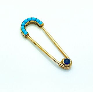 Cartier 14k Yellow Gold Sapphire & Turquoise Brooch