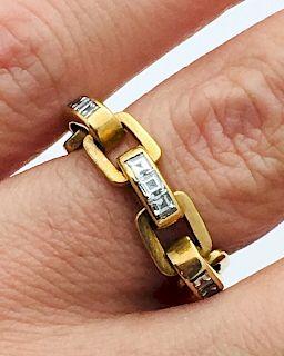 Bvlgari 18k Gold Asscher Cut Diamond Flexible Top Ring