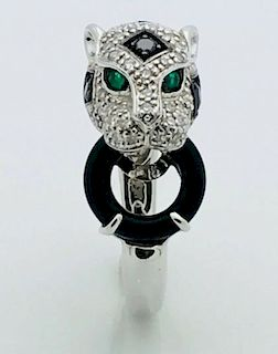 14k White 5.1g Gold Panther Black & White Diamonds With