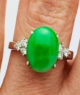 18k White Gold 3ct Jade & 0.16ct Diamonds Ring