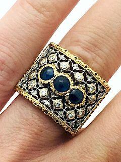 Buccellati 18k 1.93ct Diamond Sapphire Ring