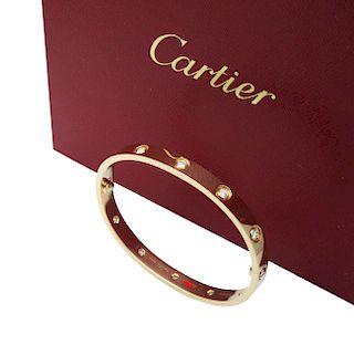 Cartier 18k Gold 10 Diamond LOVE Bracelet Sz 17