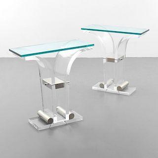 2 Console Tables, Manner of Karl Springer