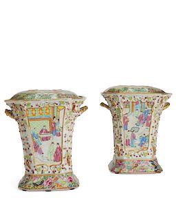 Pair of Chinese Export Famille Rose covered vases