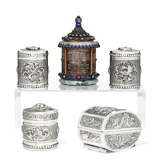 Five Asian silver and metalware table boxes