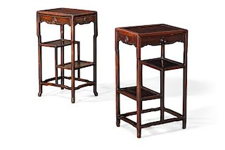 A pair of Chinese carved hardwood side tables
