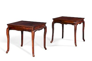 Pair of Chinese hardwood square occasional tables
