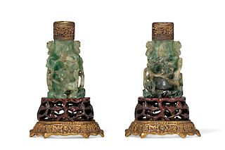 Pair of Chinese gilt bronze and hardstone lamps