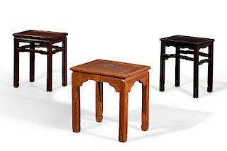 Three Chinesehardwood low occasional tables