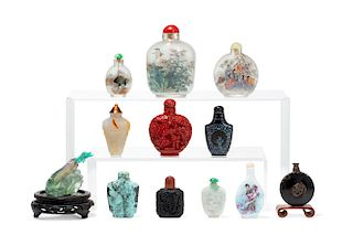 A collection of twelve Chinese snuff bottles