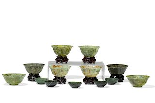A group of thirteen Chinese jade bowls
