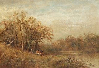 James C. Thom, oil,Country landscape