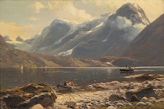 Von Eckenbrecher, oilOn the Beach (Nordfjord)