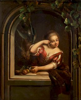Continental School, oil on zinc,Woman in a niche