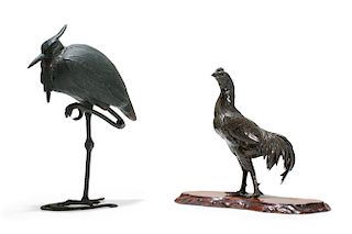 Two Japanese patinated metal models of birds