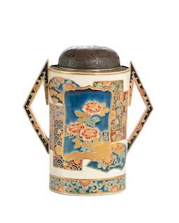 A Japanese Satsuma two handled covered vessel