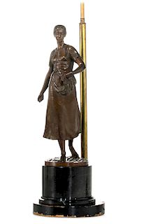 A German bronze figure of a woman, Muller-Crefeld