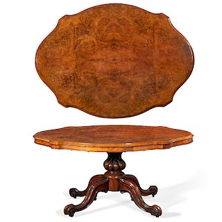 A Victorian burl walnut tilt top breakfast table
