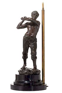 A French bronze figure of a miner, Gamboge