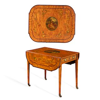 A George III paint decorated satinwood pembroke table