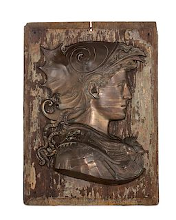A bronze profile plaque of Minerva