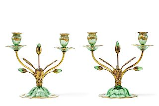 Pair of Venetian green glass two light candelabra